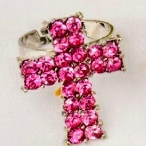 ✝️Dark Pink & Silver✝️Rhinestone✝️Cross✝️Ring✝️